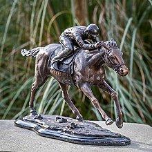 IDYL - Scultura in bronzo Jockey su cavallo   34 x