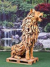 IDYL - Statua in legno di teak seduto, grande,