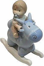 ILARY QUEEN Bomboniera Statuina Bimbo con Cavallo