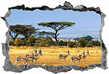 Impala, adesivo, arte della parete, 3D, animali,