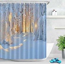 Inverno neve foresta sole Tenda da doccia