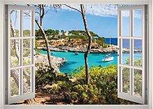 Isola Paesaggio Spiaggia Finestra 3d Adesivo Arte