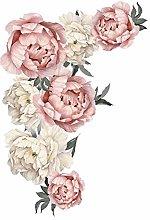 iSpchen Adesivi murali con Fiori di peonia,