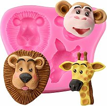JACKWS 3D Monkey Giraffe Lion Stampi in Silicone