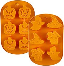 JasCherry 2 Pezzi Stampi in Silicone di Halloween,