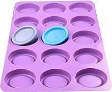 Jiuyecao - Stampo ovale per sapone a 15 fori, 15