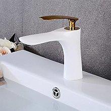 JMYXZHT Bianco con Rubinetto lavabo Oro Rubinetto