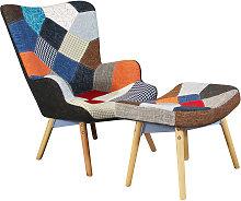 JULIE - poltrona con poggiapiedi moderna patchwork