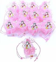JZK 12 x It's a Girl Rosa Mini Cestino Organza