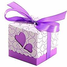 JZK 50 Viola cuore scatola portaconfetti scatolina