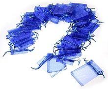 JZK 50 x Blu 7x9cm sacchetti coulisse organza