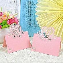 JZK® 50 x Cuore Perlato Rosa segnatavolo segna