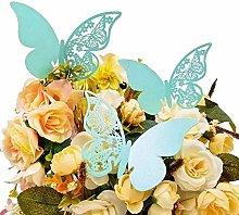 JZK® 50 x Farfalla perlato blu segna posto
