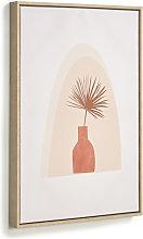 Kave Home - Quadro Izem vaso con fiore marrone 50