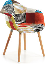 Kave Home - Sedia Kevya patchwork multicolore