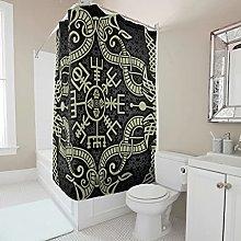 kikomia Tenda da doccia lavabile, motivo vichingo