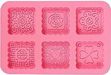 Kimyu - Stampo rotondo in silicone a 6 cavità 3D,