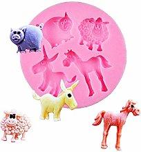 KIRALOVE Stampo in Silicone a Forma di 4 Animali -