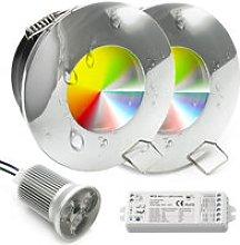 KIT 2 faretti LED 18W cromoterapia luci incasso