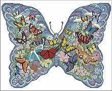 Kit da ricamo a punto croce - Mondo delle farfalle