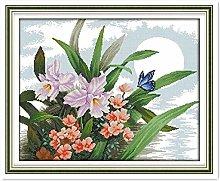 Kit ricamo punto croce orchidea per adulti al