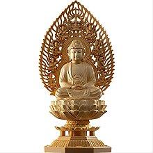 KKUUNXU Scultura di Buddha in Legno di cipresso