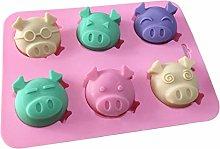 KOUJING 6-Cavity DIY 3D Emozione Maiale Piggy