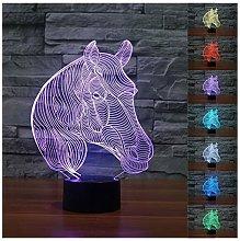Lampada a LED 3D a forma di cavallo, 7 colori,