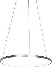 Lampada a sospensione moderna argento 60cm LED -