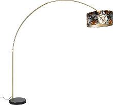 Lampada ad arco in ottone con paralume nero