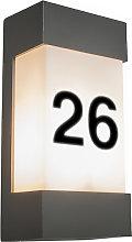 Lampada da parete per esterno antracite con numero