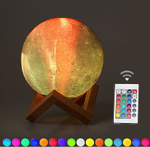 Lampada da tavolo a forma di luna con stampa 3D da