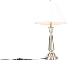 Lampada da tavolo classica acciaio paralume crema