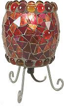 Lampada da tavolo Enya mosaico di vetro rosso