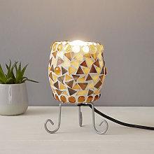 Lampada da tavolo Enya mosaico vetro creme-marrone