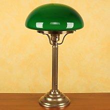 Lampada da tavolo Hari in ottone, paralume verde