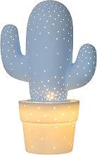 Lampada da tavolo in ceramica Cactus, blu