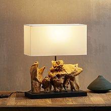 Lampada da tavolo Nature Vertical, base in legno