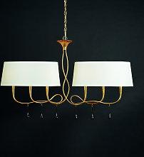Lampada da tavolo Paola 6 luci oro/crema