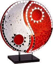 Lampada da tavolo Ying Yang con mosaico rosso