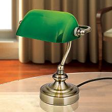 Lampada da tavolo Zora con paralume in vetro verde