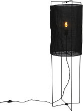 Lampada da terra design acciaio paralume lino nero