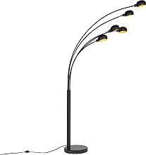 Lampada da terra design nera 5 luci SIXTIES MARMO