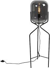 Lampada da terra di design nera con vetro fumé -