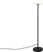 Lampada da terra esterno nero paralume bianco incl
