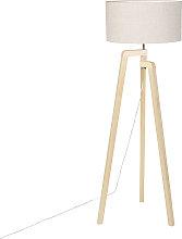 Lampada da terra legno paralume pepe 50 cm - PUROS