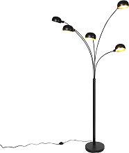 Lampada da terra nera design a 5 luci - SIXTIES