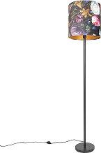 Lampada da terra nera paralume fiore 40cm - SIMPLO