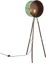 Lampada da terra treppiede bambù verde rame -