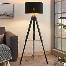 Lampada da terra Triac nera con treppiede in legno